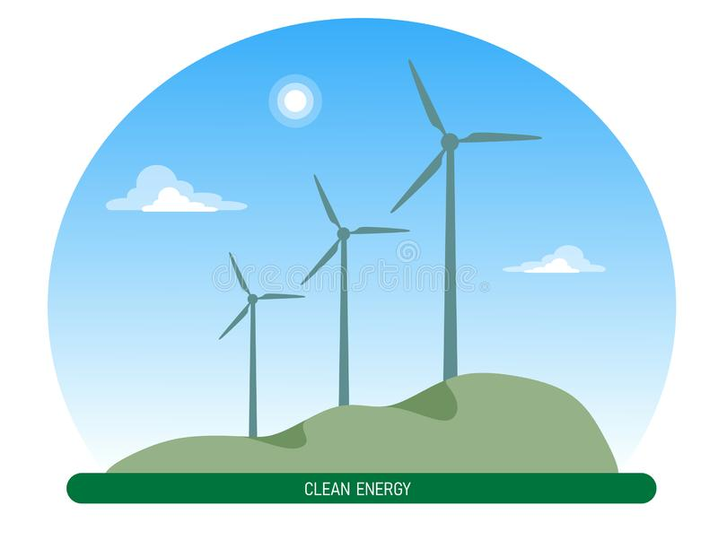Windmills on a hill with sky and clouds on a white background, clean energy. Flat style illustration royalty free illustration