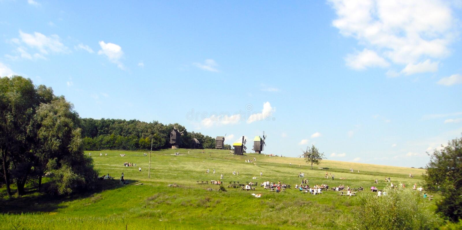 Windmills in a historic park in ukraine royalty free stock photography