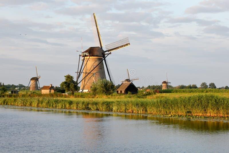 Windmills at Kinderdijk stock images