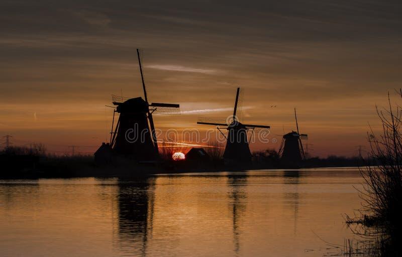 Windmills Kinderdijk 库存照片
