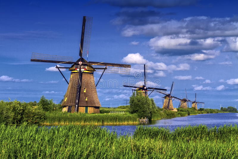Windmills in Kinderdijk, Holland, Netherlands stock photo