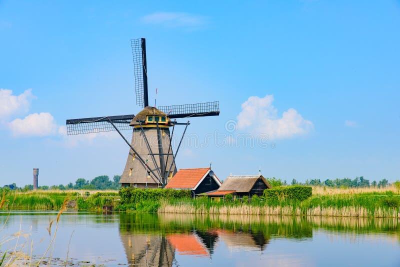 The windmills in Kinderdijk in Rotterdam, Netherlands. The windmills in Kinderdijk, a UNESCO World Heritage site in Rotterdam, Netherlands stock photo
