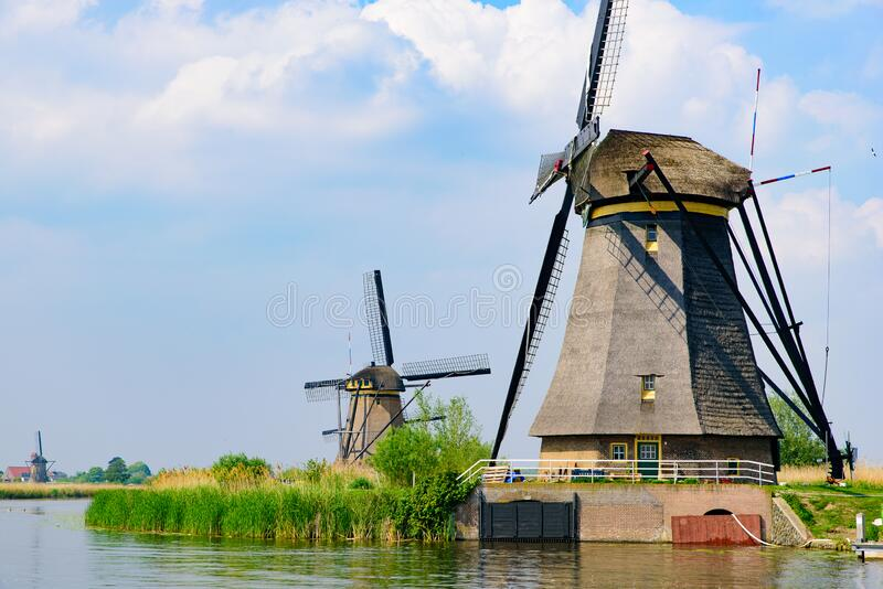 The windmills in Kinderdijk in Rotterdam, Netherlands. The windmills in Kinderdijk, a UNESCO World Heritage site in Rotterdam, Netherlands stock photography