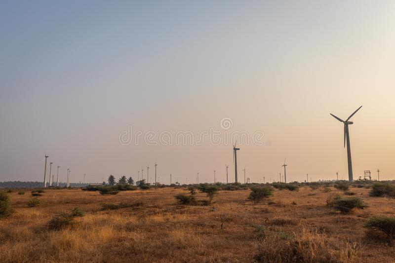 Windmills in the morning stock photography