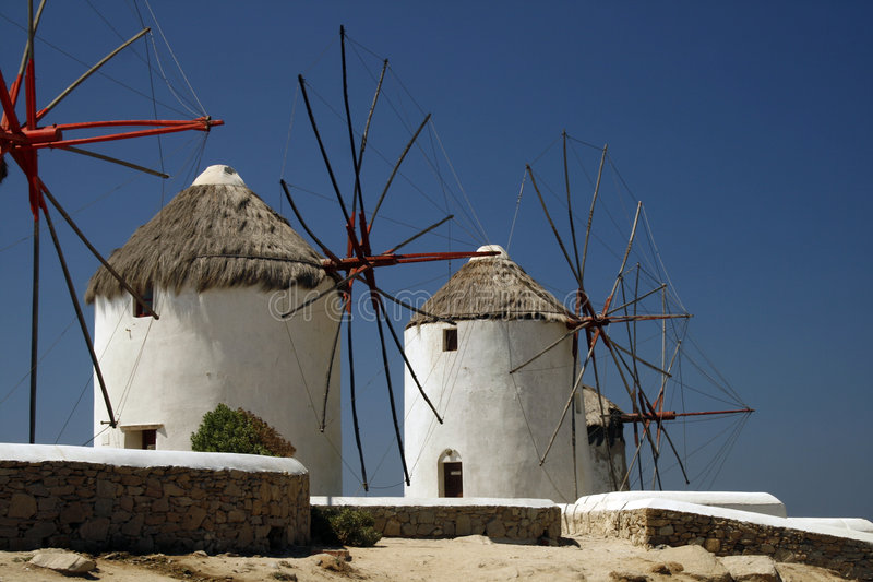 Windmills of Mykonos Island royalty free stock images