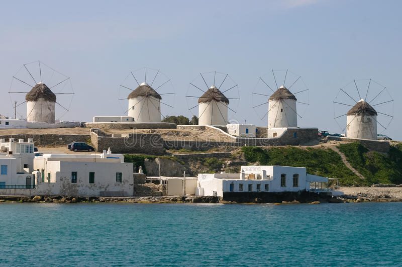 Windmills in Mykonos royalty free stock photo