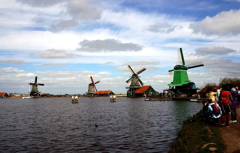 Windmills near river. In Zaanse Chans Netherlands royalty free stock photography