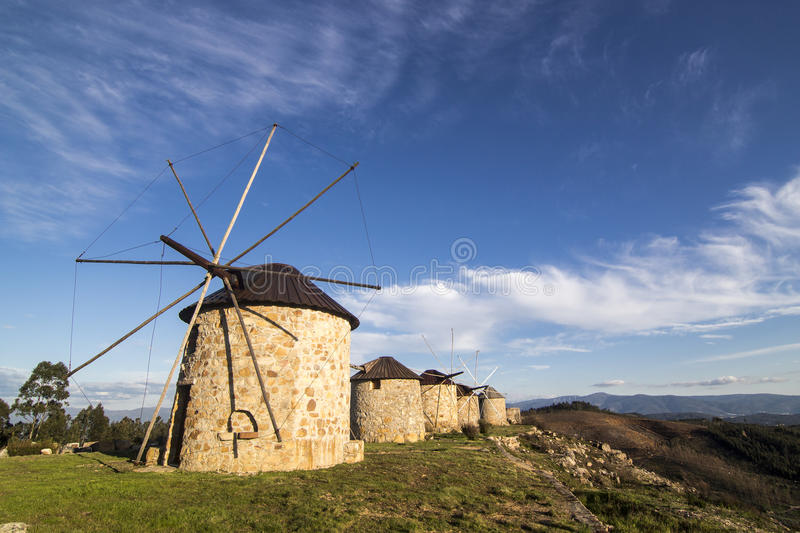 Windmills in Portugal royalty free stock photos