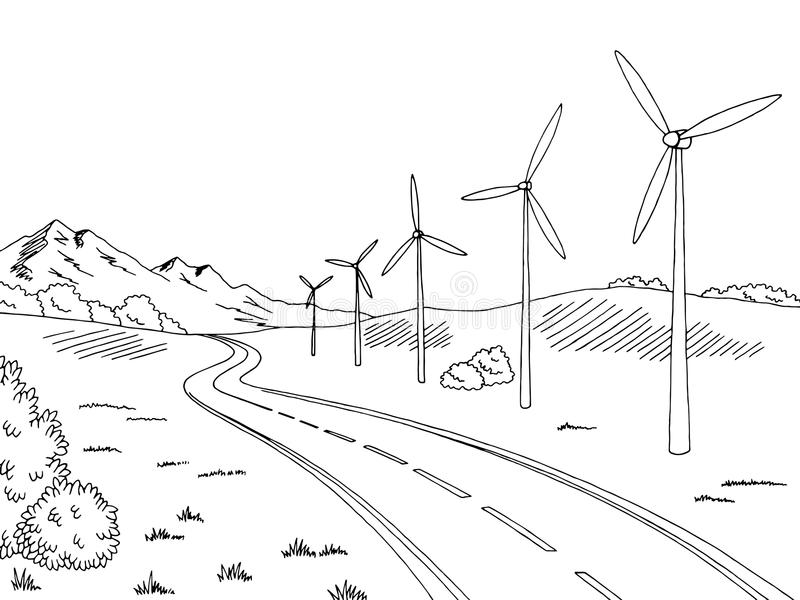 Windmills Road Graphic Black White Landscape Sketch Illustration ...