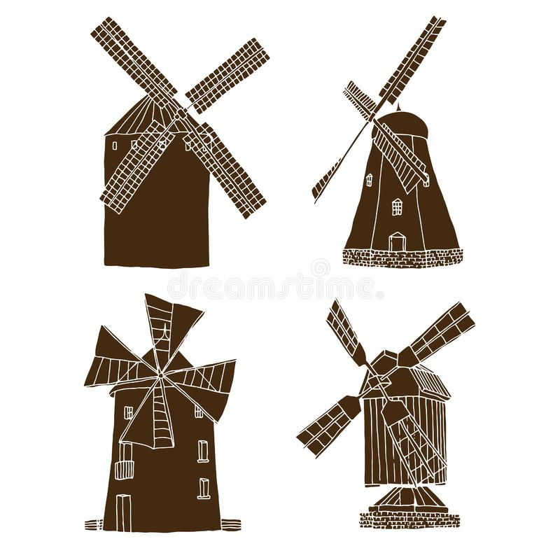 Windmills set vector silhouettes isolated on white background vector illustration