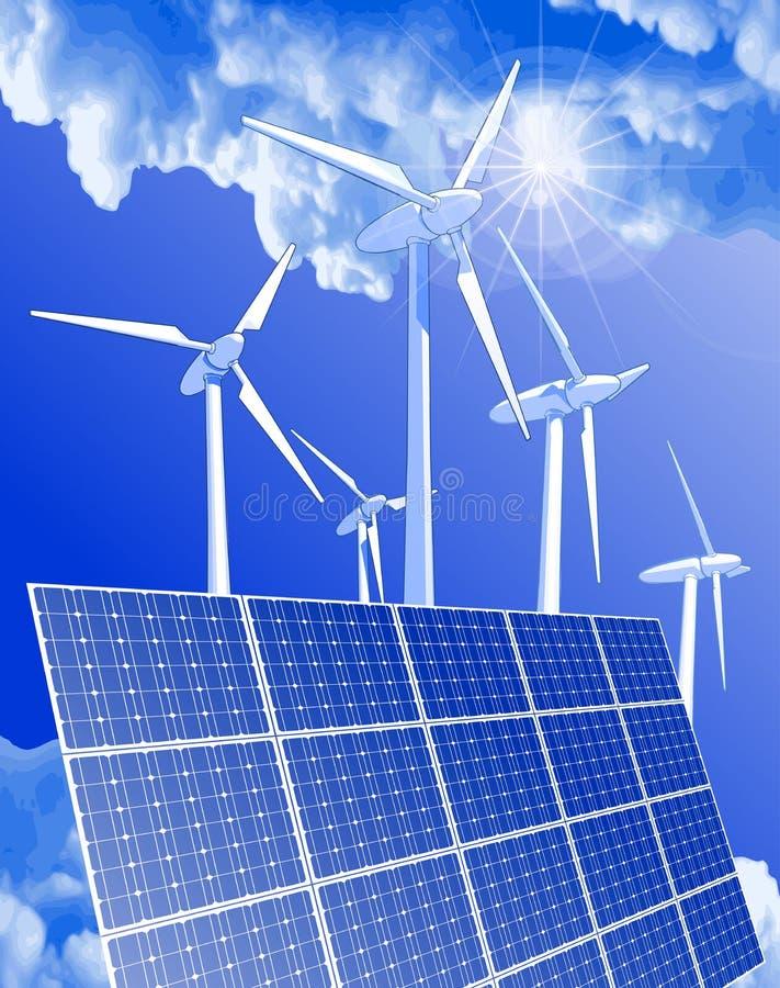 Download Windmills, Solar Power Systems & Blue Sky Stock Vector - Illustration: 14042812