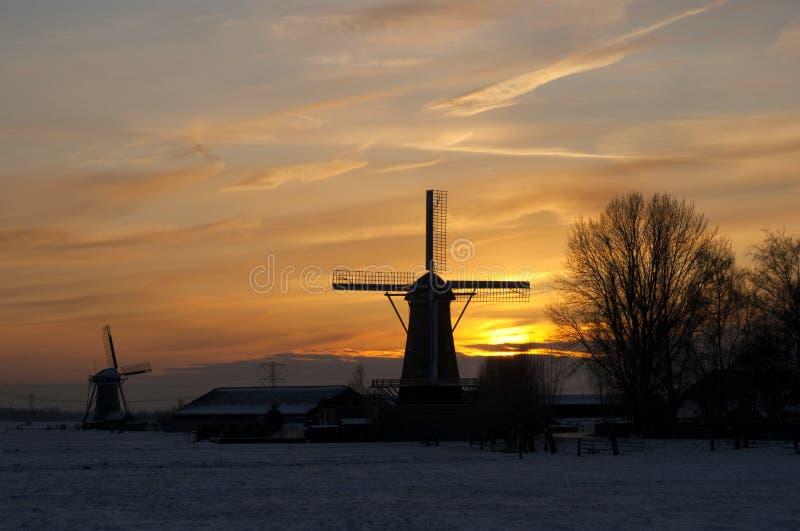 Windmills at sunset royalty free stock image