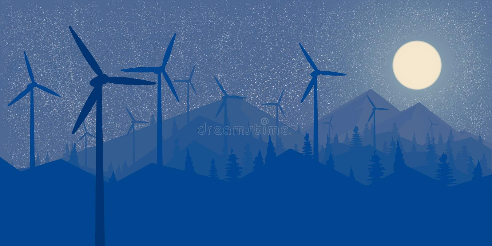 Windmills Wind Power Night forest and the mountains Big full moon Wallpaper Landscape in the style of Flet Vector illustration vector illustration
