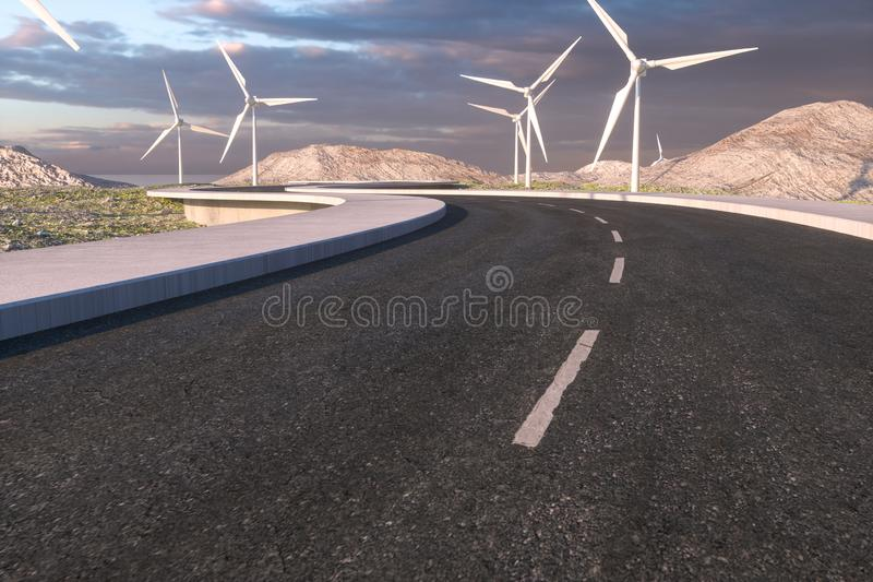 Windmills and winding road in the open, 3d rendering stock image