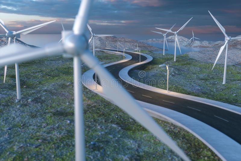 Windmills and winding road in the open, 3d rendering royalty free stock images