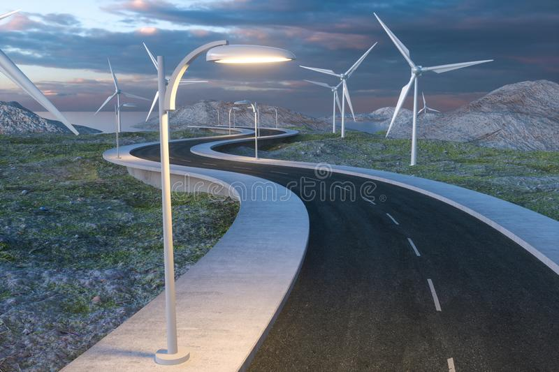 Windmills and winding road in the open, 3d rendering stock photos