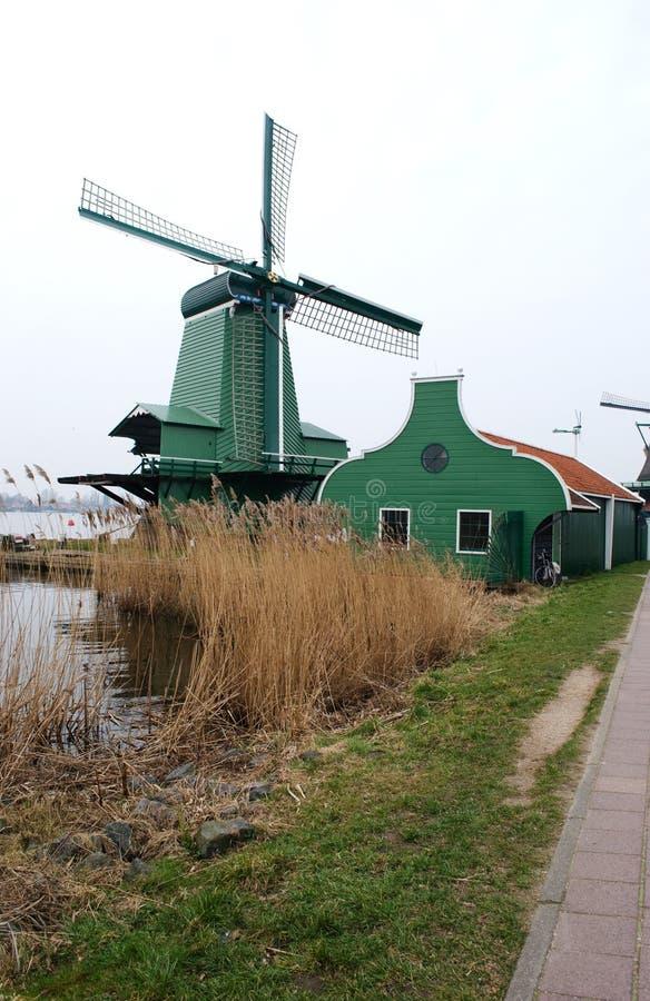 Windmills in Zaanse Schans, Holland royalty free stock photo