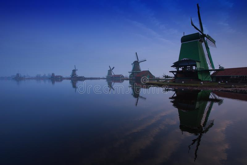 Windmills of Zaanse Schans, Zaandam stock images