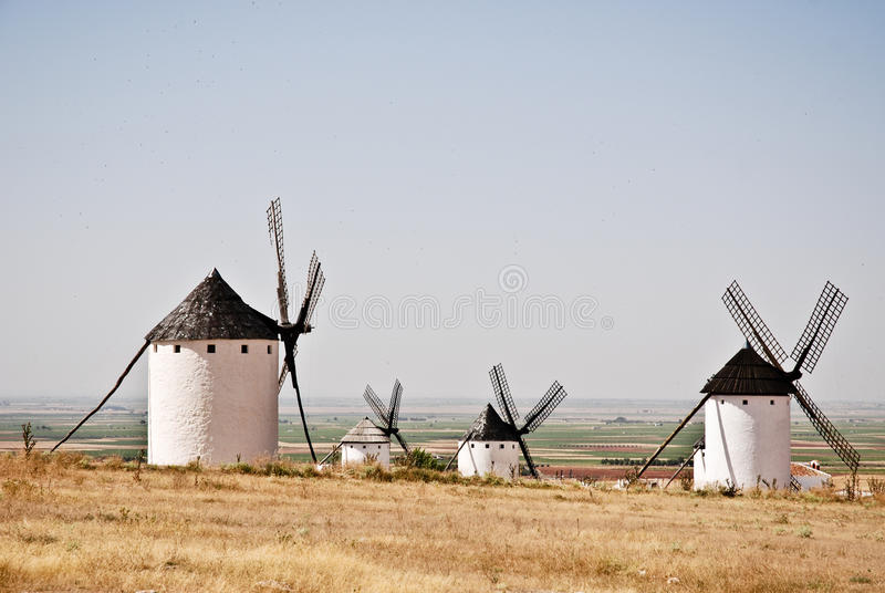 Windmils in La Mancha stock image