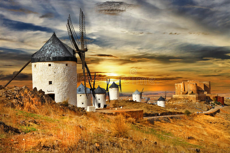 Windmils of Spain stock photo