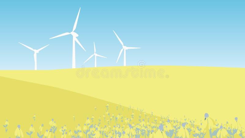 Windmilsl на холме с желтым ландшафтом поля цветка иллюстрация штока