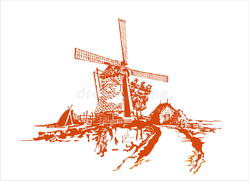 Windmolen stock illustratie