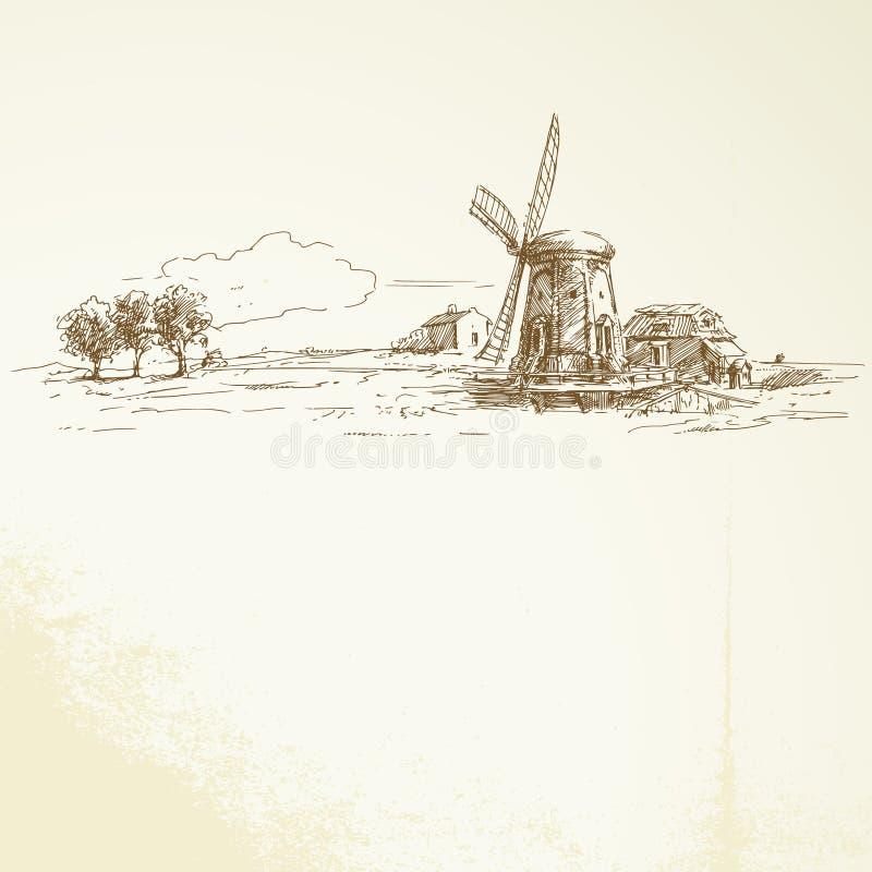 Windmolen vector illustratie