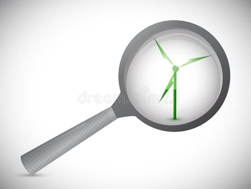 Windmolen alternatieve energie onder overzicht. stock illustratie