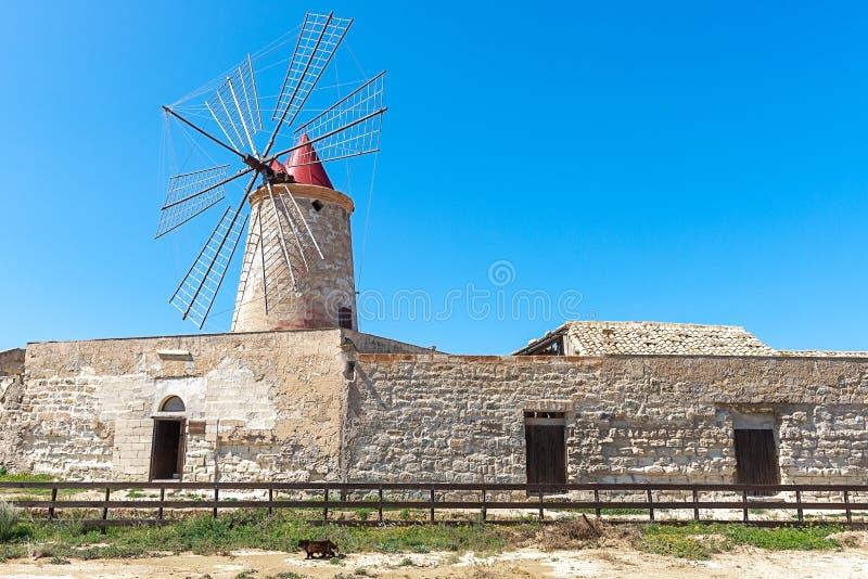 Windmolen bij de zoute vlakten van Trapan, Sicilië, Italië royalty-vrije stock foto