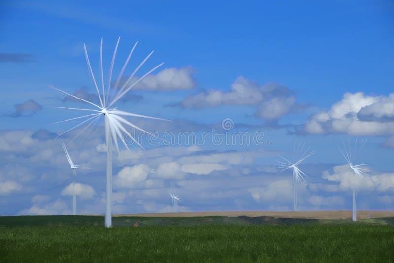 Windmolen die Elektriciteit met Blauwe Hemel en Wolken veroorzaken stock foto