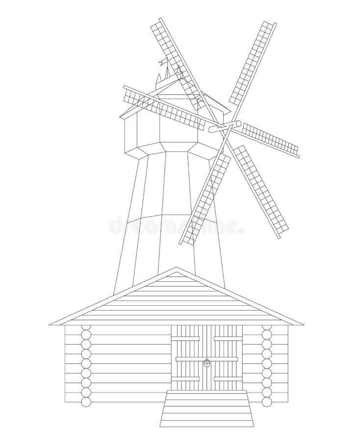 Windmolen en graanschuur op witte achtergrond wordt geïsoleerd die stock illustratie
