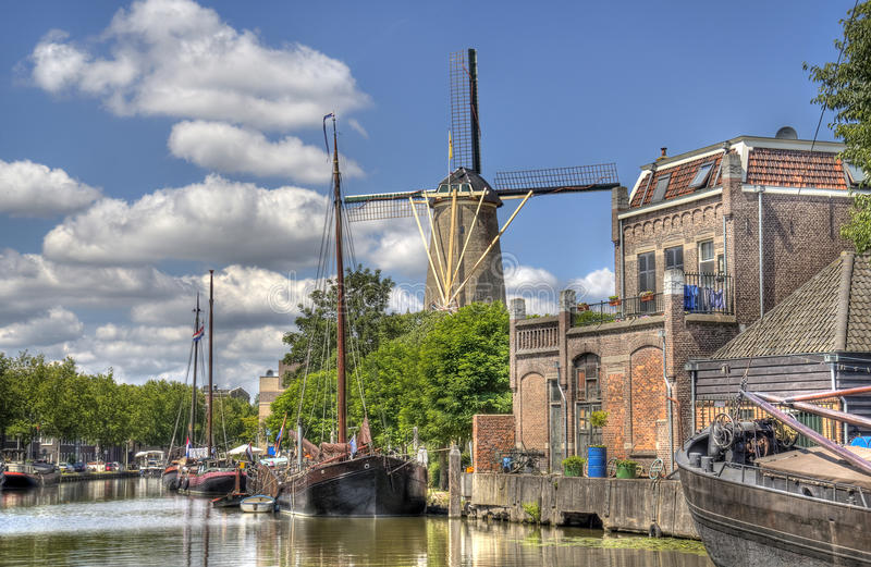 Windmolen in Gouda, Holland royalty-vrije stock afbeelding