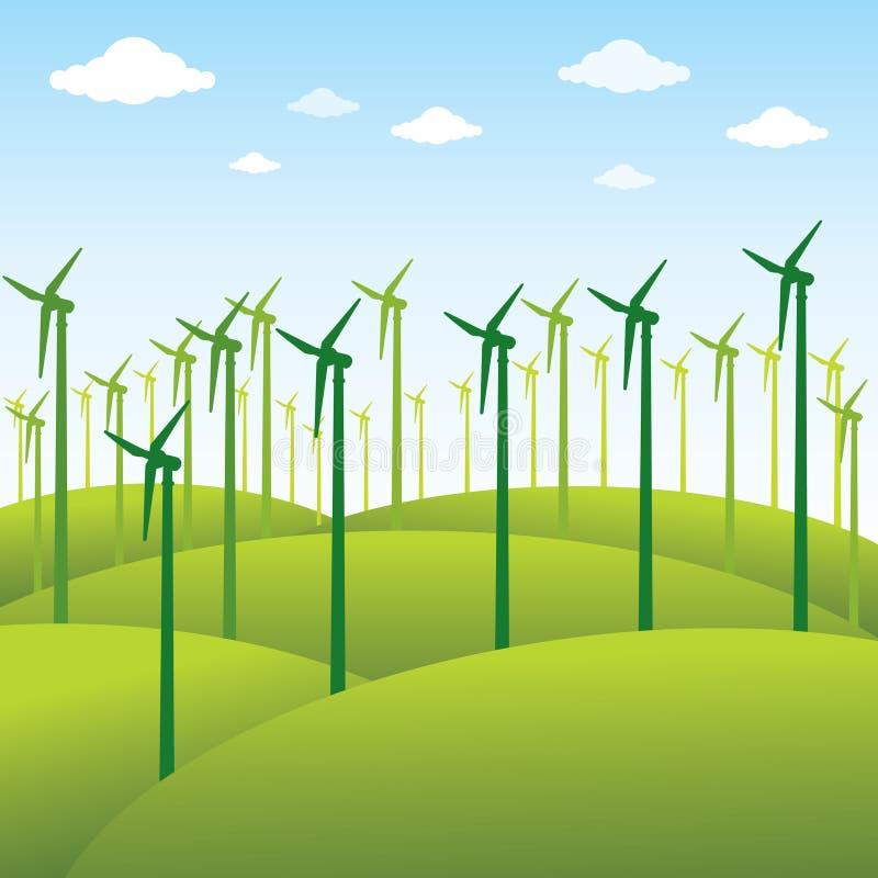 Windmolen of groene energiebronachtergrond stock illustratie