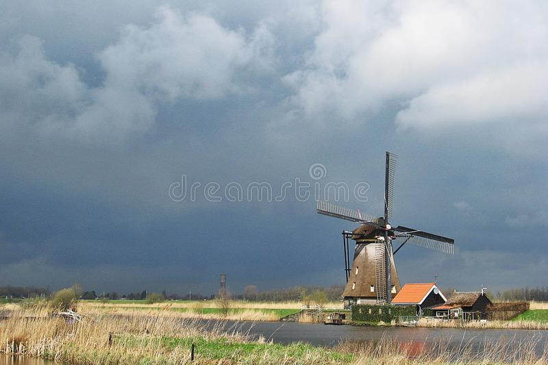Windmolen in Kinderdijk, Nederland royalty-vrije stock foto's