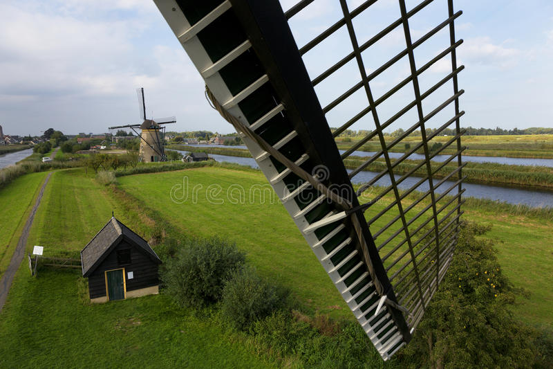 Windmolen, Kinderdijk, Netherland stock afbeelding
