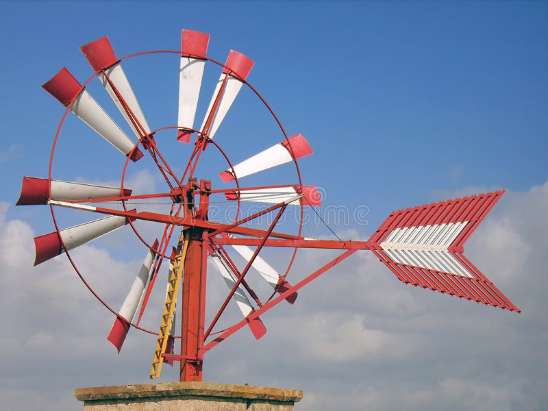 Windmolen in Majorca stock foto's