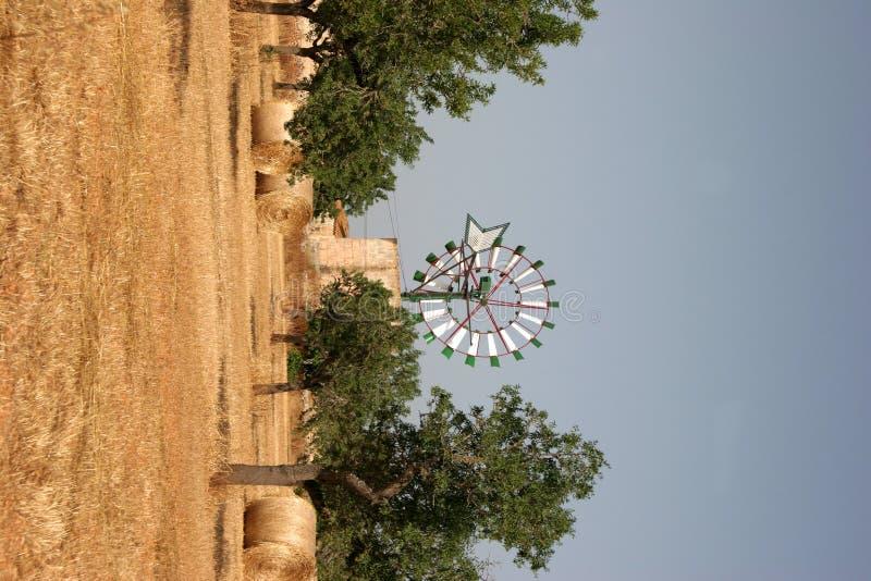 Windmolen met stro royalty-vrije stock afbeelding