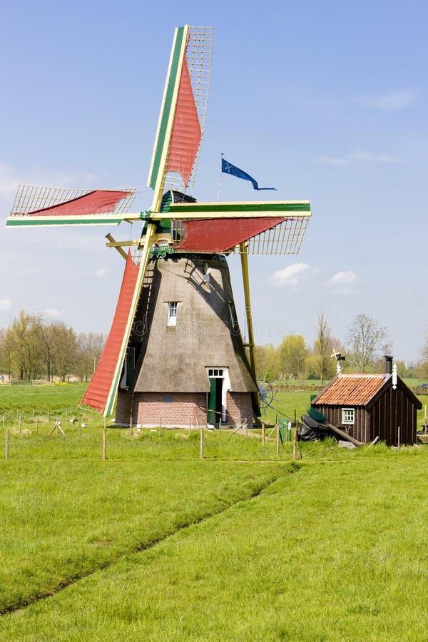 windmolen, Ooievaarsdorp, Nederland royalty-vrije stock afbeelding