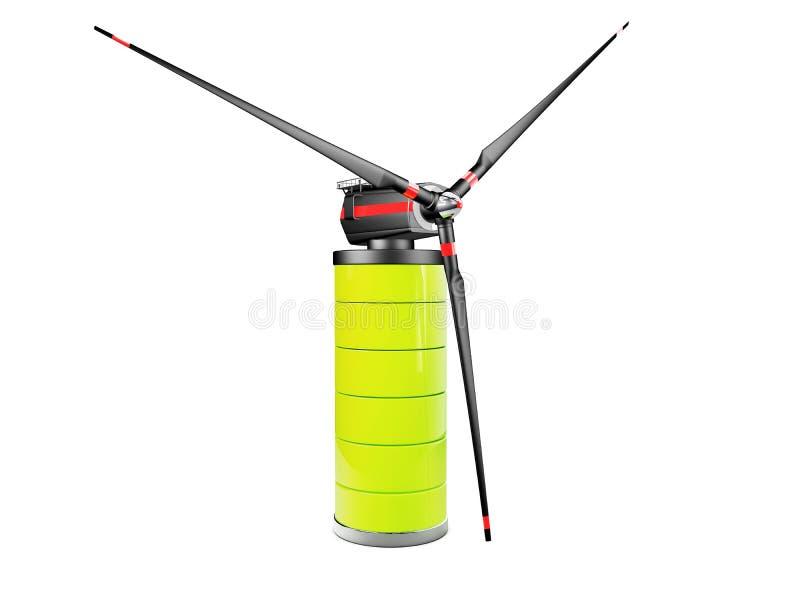 Windmolen op de batterij Macht en vernieuwbaar, generator, ecologiesymbool 3D Illustratie royalty-vrije illustratie