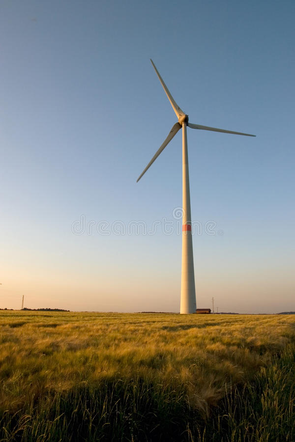 Windmolen op zonsondergang stock foto's