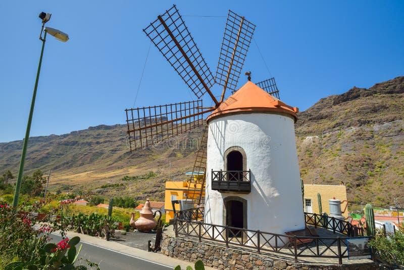 Windmolen Pueblo Mogan Gran Canaria, Spanje royalty-vrije stock foto