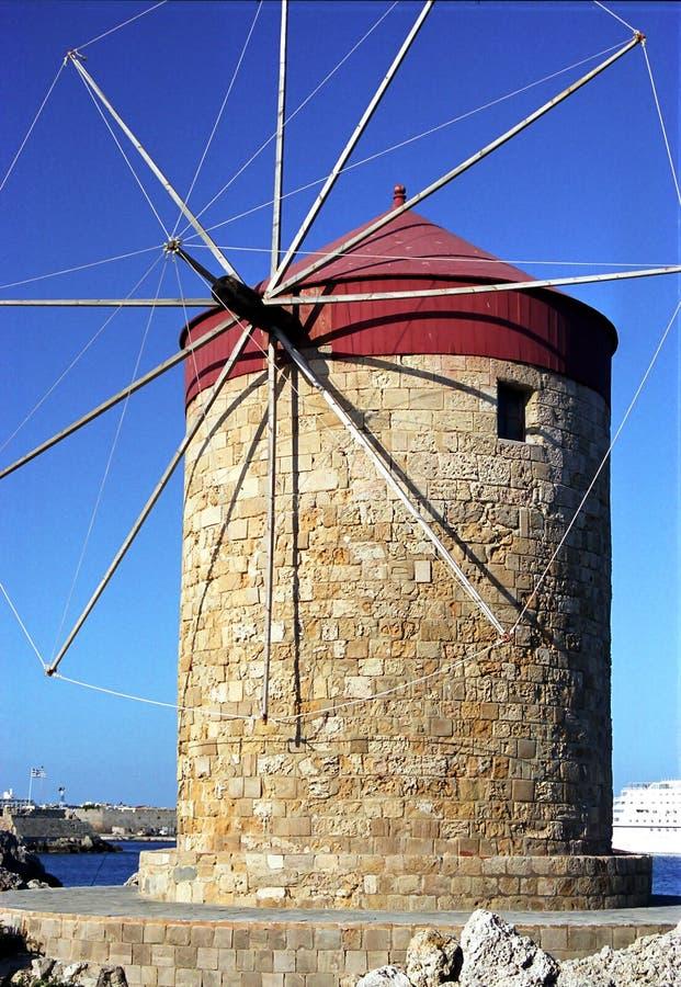 Windmolen Rhodos Griekenland stock foto's