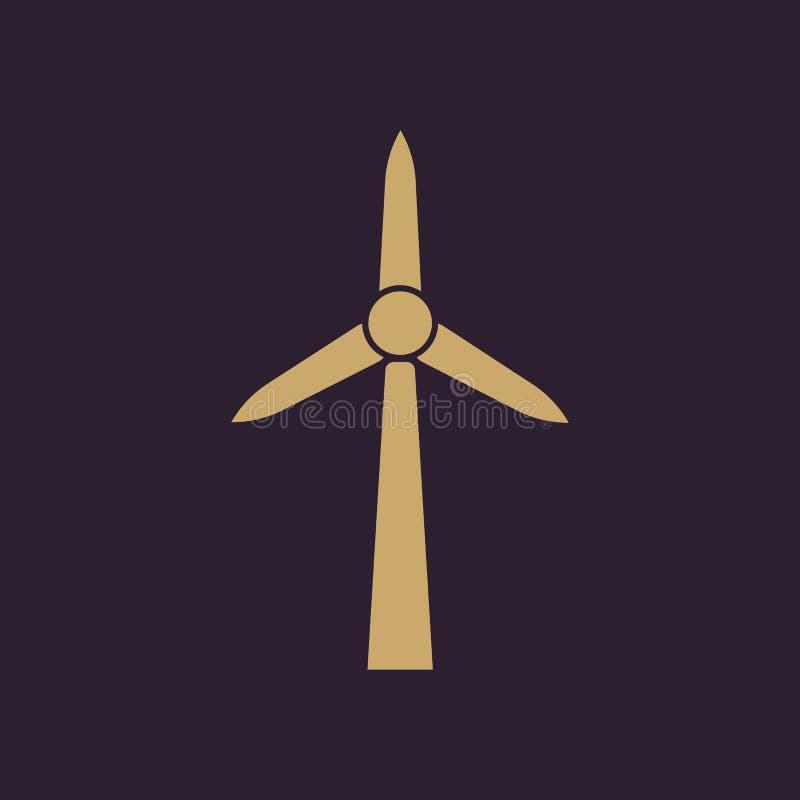 Windmolenpictogram Macht en vernieuwbaar, generator, ecologiesymbool Vlak Ontwerp Voorraad - Vectorillustratie stock illustratie