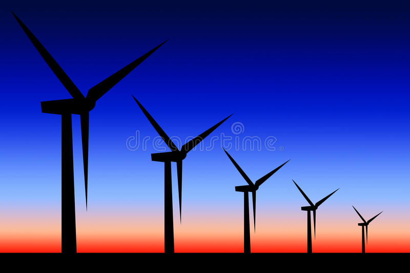 Windmolens stock illustratie