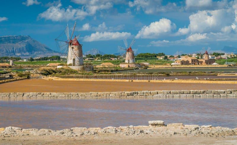 Windmolens bij de natuurlijke reserve van Zoute dello Stagnone ` van ` dichtbij Marsala en Trapan, Sicilië stock fotografie