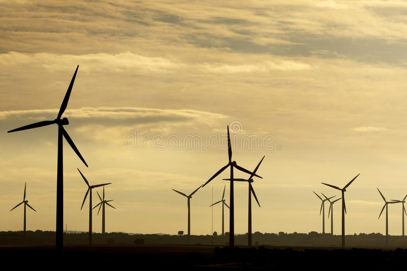 Windmolens bij zonsopgang royalty-vrije stock foto's