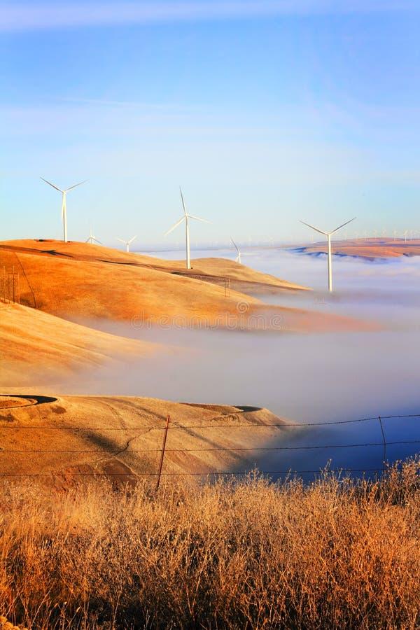 Windmolens en Mist royalty-vrije stock foto's