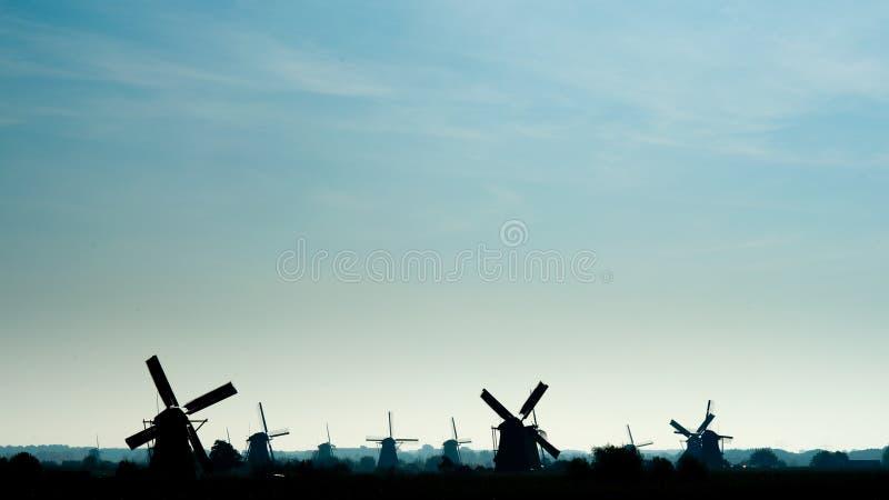 Windmolens in Kinderdijk royalty-vrije stock fotografie