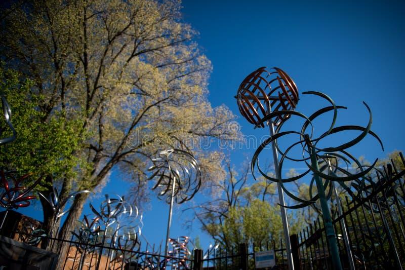 windmolens Kunststuk Canionweg in Santa Fe, New Mexico royalty-vrije stock afbeeldingen