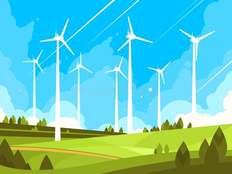 Windmolens op groene gebieden stock illustratie